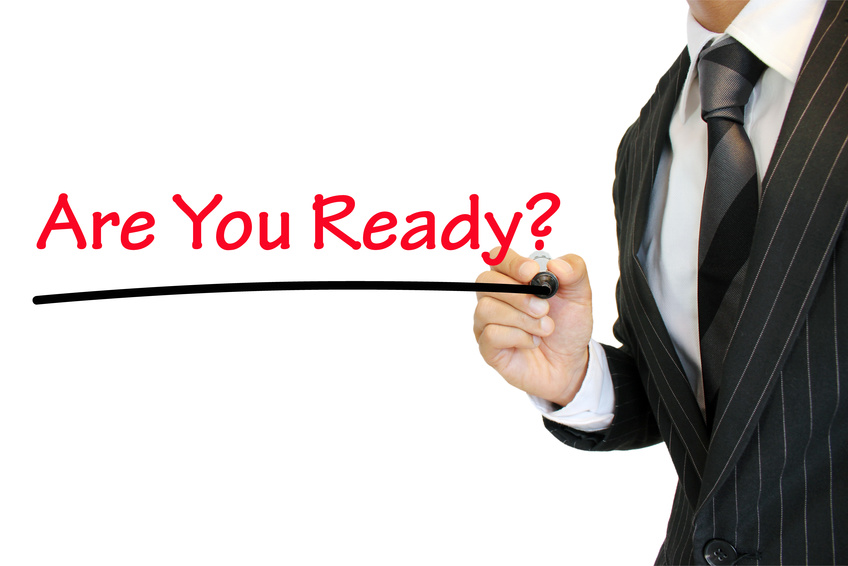 """Are you ready?"" 準備万端か尋ねるビジネスマン a question written by a young businessman"